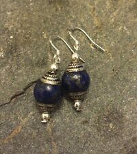 Jewelry for Bema Lapis Stone with Silver Dangle Hook Earrings