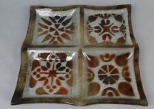 Vtg Lenoy Israel Mid Century Modern Fused Glass Dish Plate Original Tag Divided