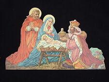 """Antique vintage Catholic Nativity Christmas picture Die cut statuette 10 3/4"""""""