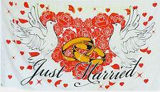 Flagge Hochzeit Just Married mit Tauben Rosen Weiss 1,5 x 0,9m Fahne Neu Deko