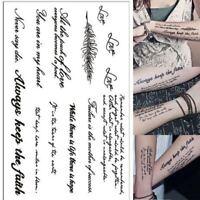Fashion Punk Temporary Tatto English Word Body Art Women Men Fake Tatoo Stickers