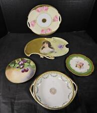 Five Piece Lot - Bavarian & Austrian Antique Porcelain Plates * Tray & Bowl