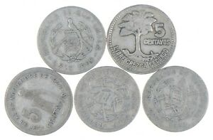 Lot of 5 Guatemala 5 Centavos 1960 1959 1943 1932 1932 Silver Coin Lot *123