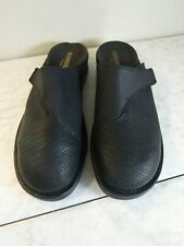 Clarks Collection Black Leather Woven Top Mules Shoes Size Women 8.5 EU 39.5