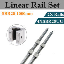 2× SBR20-1000mm 20mm Fully Supported Router Linear Motion Rail+4 SBR20UU Block