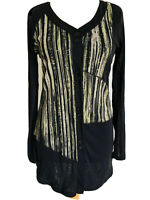 Marco Polo Black Neon Striped Mesh Cardigan Button Up Blouse Asymetric Size M