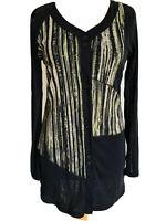 Marco Polo Black Neon Striped Mesh Cardigan Button Up Blouse Asymetric Size M
