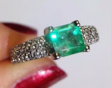Fine Vivid .90CT Colombian Emerald and Diamond Platinum Engagement Ring Sz 6