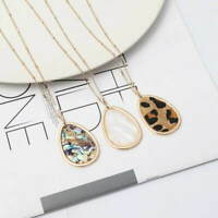 Abalone Shell Animal Leopard Leather Teardrop Nature Stone Pendant Long Necklace