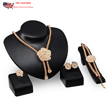 Women Crystal Necklace Bracelet Ring Earrings Flower Jewelry Set 18K Gold Plated