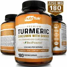 Turmeric Curcumin with Ginger & BioPerine Joint Pain 2250 mg Root 180 Capsules