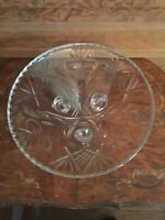 Vintage Cut Glass Crystal 3 Legged Flower Pattern Centerpiece Bowl