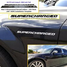 Hellcat Supercharged Emblem Silver Challenger Charger w/ Installation Template