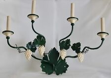 VTG Italian Green Tole 4 Arm Wall Sconce Light Fixture  Grapes & Leaves 25.5""