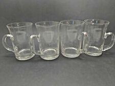 Vintage Glass Mug Etched Leaf Tall Glass Handle Coffee Mug Tea Cup Stein