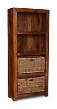 LIVING ROOM FURNITURE SHEESHAM CUBA SOLID BOOKCASE AND 2 BASKETS (C8W&2B42)