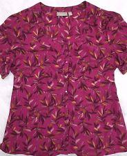 Croft & Barrow Shirt XL Purple Yellow Leaves Button Down Scoop Neck Short Sleeve
