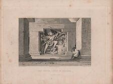 """India/Antiguo Impresiones - """"dus Awtar, Cuevas de Ellora"""" - Cattermole & Elliot (1840)"""