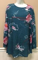 JAASE Women Size Small S Green Floral Bird Hippie Boho Peasant Tunic Top Dress