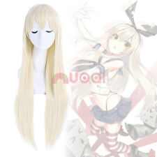 US Ship Kantai Shimakaze Kashiwazaki Sena Long Light Blonde Straight Cosplay Wig