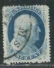 US Stamps 24 1c Blue Washington Type V Used Fine 1857 SCV $40.00