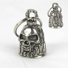 Moto Guardian Bell Cloche Porte Bonheur Skull & Bones tete de mort pendentif NEUF