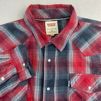 Levis Pearl Snap Shirt Mens XL Red Plaid Long Sleeve Casual Modern