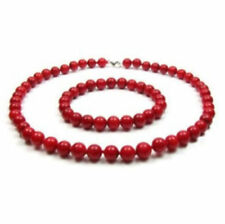 "AAA Natural 8mm Red Coral Necklace & Bracelet Jewelry Set 18"" 7.5"""