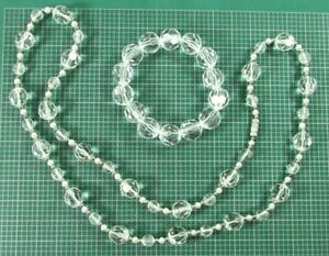 "Lucite? With Small Pearl & Silver Tone Beads 28"" Necklace With Bracelet"