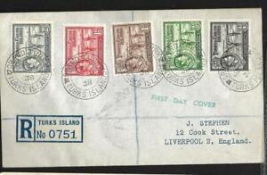 TURKS & CAICOS ISLANDS, KGV1 1938 FD COVER TO UK, TURK ISLAND REGISTERED