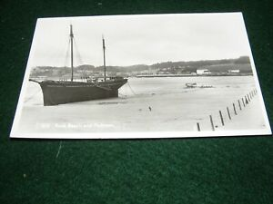 """VINTAGE POSTCARD ROCK BEACH PADSTOW SAILING BOAT """"ISABELLA"""" AWAITING THE TIDE RP"""