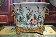 Oriental Chinese Crackled Porcelain Ovale Planter Pot Antiqued Brass Base