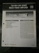 Toa 900 Series Mixer Power Amplifier (Owners Manual)