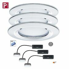 Paulmann EBL LED Coin Slim 3x6,8W Starr Dimmbar Chrom. IP44 Satin H=3cm 93874