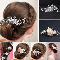 Flower Wedding Hair Pins Comb Bridal Clips Accessories Pearls Slide Grip Crystal