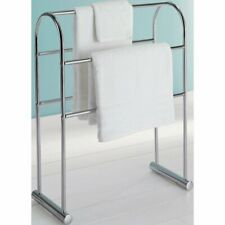 Towel Holder Free Standing Chrome Bathroom 5 Rail Rack Stand