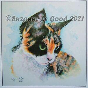 Devon Rex cat art print large from original watercolour painting Suzanne Le Good