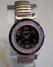 Geneva Women's Stretch Band Fashion Silver Finish Stone Inspired Watch