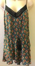 Band of Gypsies Romper Print Crochet Trim Floral Multi Color Womens Large