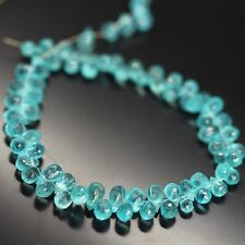 "Blue Apatite Faceted Loose Gemstone Briolette Tear Drop Beads Strand 8"" 6mm 7mm"