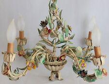 VINTAGE ITALIAN FLORENTINE TOLE CHANDELIER SHABBY CHIC PASTEL FLOWERS - 4 ARMS