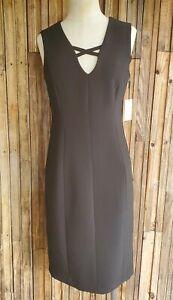 Calvin Klein Cross Neck Sleeveless Sheath Dress Black Size 6 NWT $134 Formal