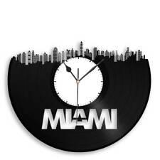 Miami Skyline Vinyl Wall Clock Cityscape Decorative Bedroom Decor Unique Art