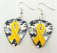Yellow Ribbon Charm Guitar Pick Earrings with Surgical Steel Earwires