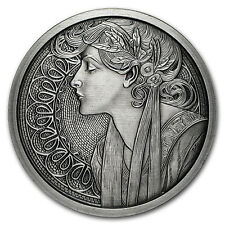 5 oz Silver Antique Round Mucha Collection (Laurel)