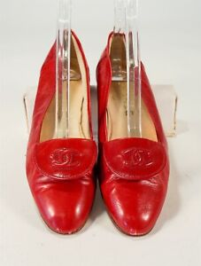 Chanel Red Calfskin Almond Toe Embroidered CC Tongue Flats Size 7