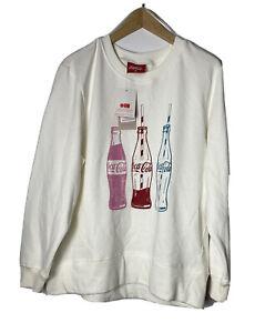 Coca Cola Women's Hoodie Sweatshirt Cream White Cola Bottles Print Size 16 NWT