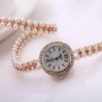 Women Faux Pearl Bracelet Wrist Analog Quartz Crystal Rhinestone Watch Gold GJ