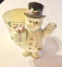 Lenox Snowman Planter Holiday Home Decor Gold Lenox China