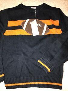 NWT Knit Boys sweater 7 8 Navy FOOTBALL sweater  $37+ GYMBOREE